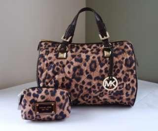 Michael Kors Grayson Leopard Large Satchel + Small Cosmetic Case