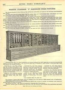 1918 Warren Hardware Store Wall Display Cases Planes Saws Cabinet ad