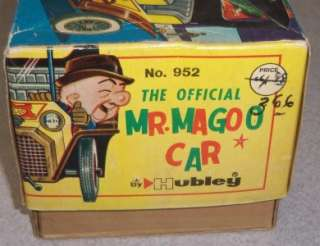 Vintage 1961 Hubley Mr. Magoo Battery Operated Tin Litho Car w/ Box NR