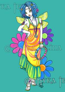 Rainbow Dreads Flower Hippie Fairy OOAK ACEO Harmony