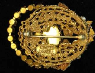 Vintage Miriam Haskel Blue Rhinestone Brooch Pin Jewelry Gold Tone