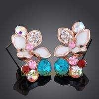 18K gold Gp Swarovski Crystal rose jewelry set 746