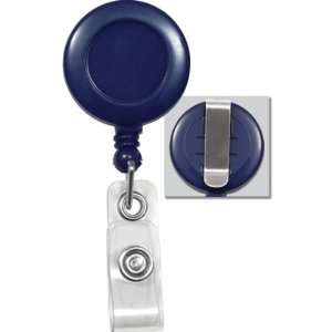 1pc Navy Blue Retractable Badge Reels With Belt Clip For