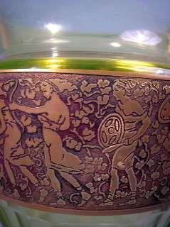 MOSER KARLSBAD SIGNED ART DECO BRIGHT GREEN VASE 1925