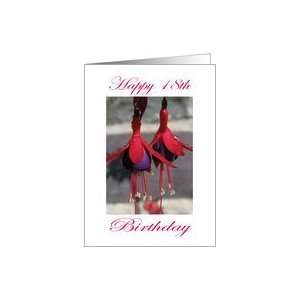 Happy 18th Birthday Purple and Red Flower Card: Toys