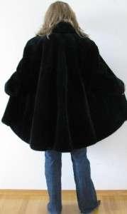 MONTEREY USA BLACK FAUX SHEARED BEAVER MINK FUR LADIES SWING COAT