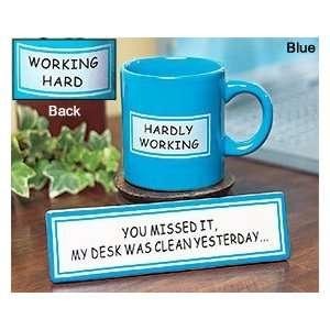 and Mug Set   Hardly Working/Working Hard Blue Kitchen & Dining