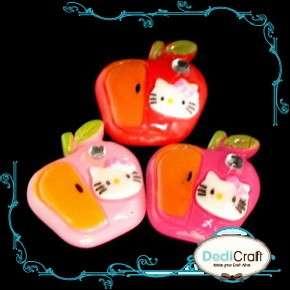 B1667 (25pcs) Mix Hello Kitty Apple Fruit Rhinestone Resin Flatback