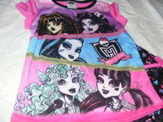 NEW Monster High Pajamas 2 Piece Set Short Sleeve Shirt Pants Girls