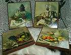 4Pc Vintage Henk Bos Wall Print SET Cork Pressed Wood FRAME PRINTS ART