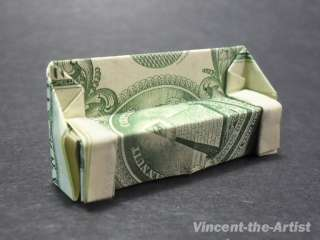 Dollar Bill Money Origami SOFA CHAIR. Great Gift Idea