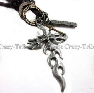 men boys Genuine leather necklace charm choker Flame Cross pendant