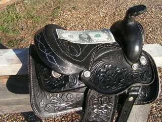 Sm Childs Hobby Rocking r Miniature Horse Saddle BLACK Tooled Leather