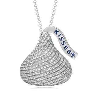 Hersheys Kisses Extra Large CZ Necklace in Sterling Silver Jewelry
