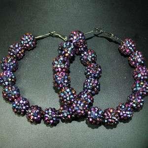 NEW Bling Hoops Rhinestone Basketball Wives Earrings+Gift Box 0009
