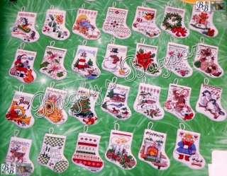 30 TINY STOCKINGS Cross Stitch Christmas Ornaments Kit  J Hernandez