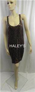 New MK Michael Kors Brown Sequin Dress Size L, XL Sexy Cocktail Party