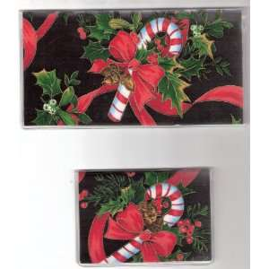 Checkbook Cover Debit Set Christmas Candy Cane Bow