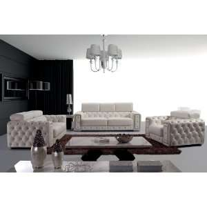 Modern Tufted Leather Sofa Set   3025 Home & Kitchen