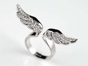 Angel Wing White Gold P Ring use Swarovski Crystal