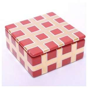 Waylande Gregory Grid Red Small Square Trinket Box (5 in x