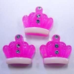 5pc Hot Pink Glitter Crowns Flat Back Resins Cabochons
