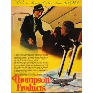 1937 Ad Thompson Valves United Airline Cabin Stewardess   Original