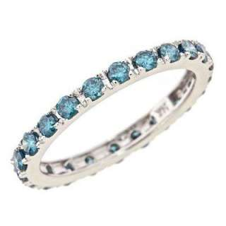 Womens Blue Diamond Eternity Wedding Band Ring 14k White Gold