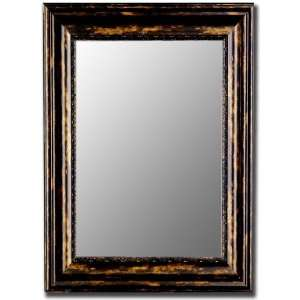 Framed wall mirror with antique copper black finish. by