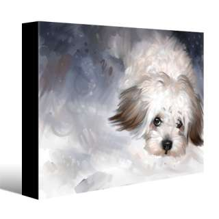 MALTESE dog pet portrait original art painting CANVAS GICLEE PRINT