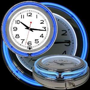 14 Inch Double Ring Neon Clock Blue Outer White Inner Home & Kitchen