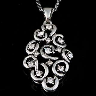 tibetan silver lozenge cluster rhinestone pendant necklace dangle