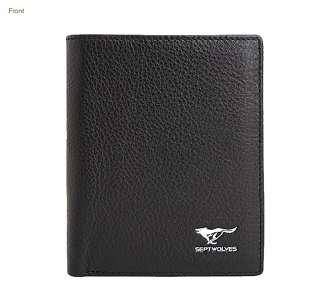 2011 Cool Mens Wallet Genuine Black Leather Run Wolf Logo Credit Card