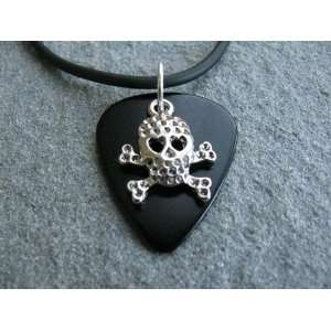 Guitar Pick Necklace with Skull & Cross Bone Charm on