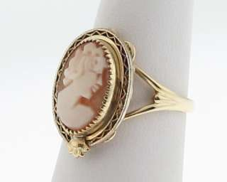 Vintage Estate Lady Cameo 10k Yellow Gold Ring Size 7 FREE Sizing