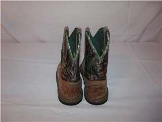 Girls JOHN DEERE Brown Green Camo Work Cowboy Western Boots 12