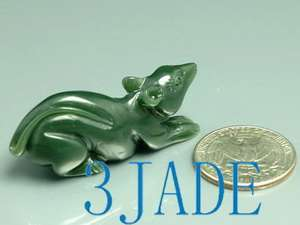 Natural Green Nephrite Jade Carving Mouse Figurine