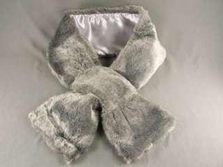 Grey Gray faux fur scarf neck wrap warmer muffler collar pull through