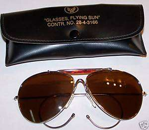 ARMY AIR CORPS AVIATOR BROWN LENSE SUNGLASSES W CASE