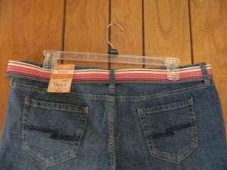 Juniors Arizona Jeans Bermuda Shorts W/Belt Size 19 NWT Orig. Wash