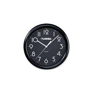 Lorell 9 3/4 Radio Control Wood Wall Clock in Black