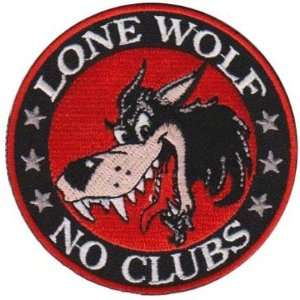 LONE WOLF NO CLUBS Fully Embroidered BIKER Vest Patch