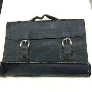Vintage Black Leather Book Case Laptop Bag Lawyer Briefcase