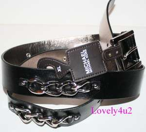 MICHAEL KORS SIGNATURE BLACK LEATHER with chains Womens BELT SIZE XL