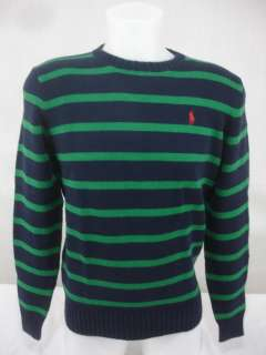 NWT Polo Ralph Lauren $98 Mens Sweater Crew Neck Cotton Navy Green Red