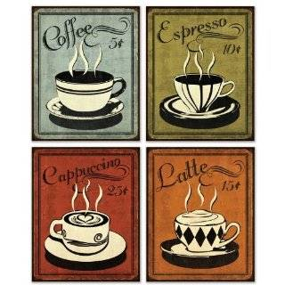 Decorative coffee themed ceramic kitchen wall decor plaques for Bar decor amazon