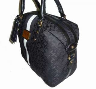 NWT, Tommy Hilfiger Black Signature Logo Bowler Satchel Handbag Purse