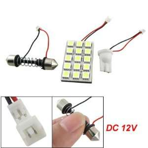 Car White 5050 SMD 15 LED Dome Light Panel T10 Festoon DC