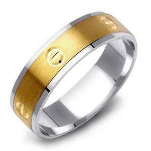 14K Two Tone Contemporary Gold Mens Wedding Band Ring Jewelry