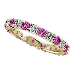 00 cttw Karina B(tm) Round Diamond and Pink Sapphire Eternity Band